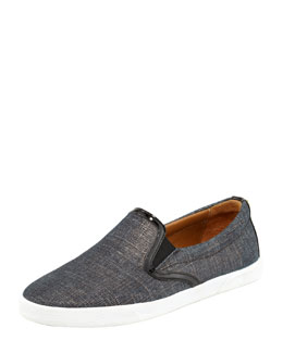 Jimmy Choo Demi Metallic Denim Skater Slip-On