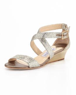 Chiara Crisscross Demi-Wedge Sandal, Champagne