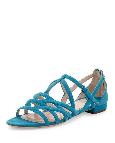 3f6d517cbca3 Miu Miu Strappy Suede Flat Sandal