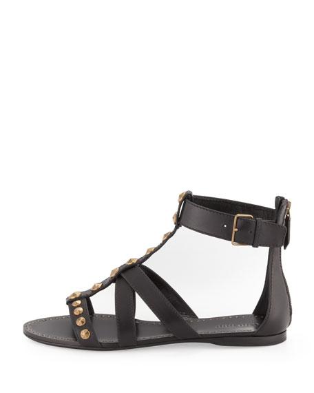 Studded T-Strap Gladiator Sandal, Black