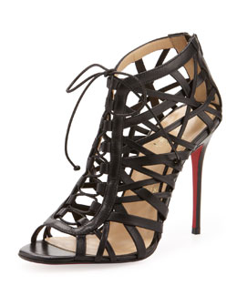 Christian Louboutin Laurence Lace-Up Red Sole Ankle Boot, Black
