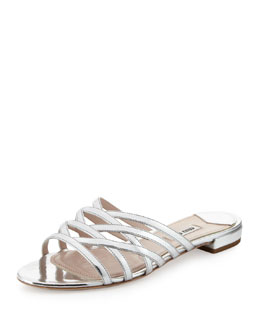 Miu Miu Metallic Strappy Slide Sandal