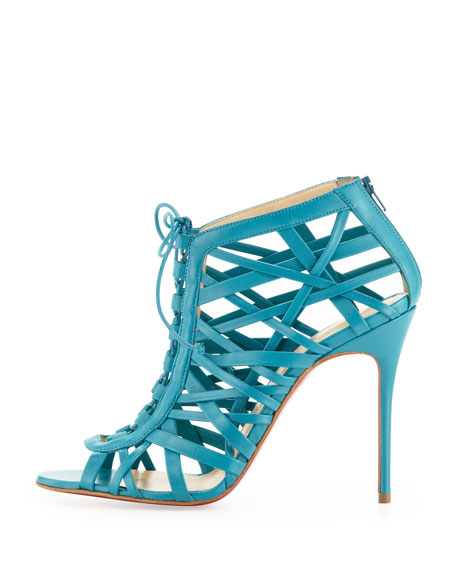 Laurence Lace-Up Red Sole Cage Sandal