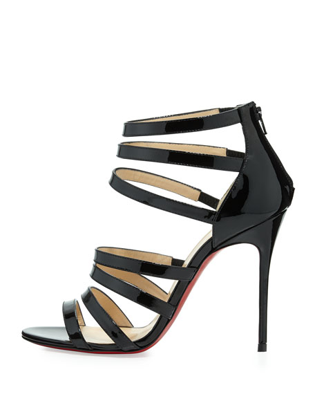 Mariniere Red Sole Patent Cage Bootie, Black