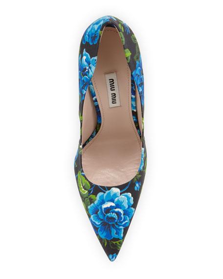 Floral-Print Point-Toe Pump, Blue