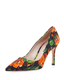 Miu Miu Floral Point-Toe Pump, Orange