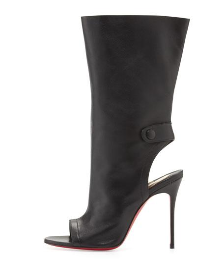 Mistinguetre Peep-Toe Mid-Calf Boot, Black