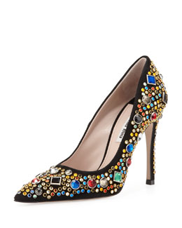 Miu Miu Jeweled Suede Point-Toe Pump, Black