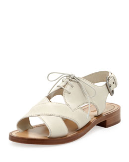 Miu Miu Crisscross Lace-Up Combo Sandal