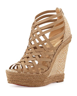 Christian Louboutin Tramontagne Red Sole Wedge Sandal, Beige