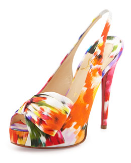 Christian Louboutin Vendome Floral-Print Red Sole Slingback