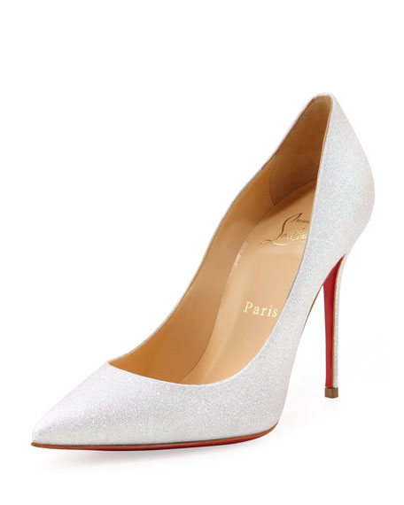 Decollete Glitter Point-Toe Red Sole Pump, Glacier