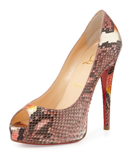 Christian Louboutin Vendome Python Red-Sole Peep-Toe Platform Pump