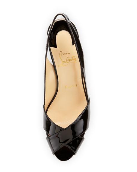 Soso Patent Red Sole Slingback Sandal, Black