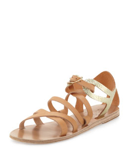 Ancient Greek Sandals Ellie Crisscross Flat Sandal, Natural/Gold