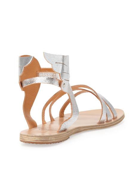 Ikaria Winged Vachetta Flat Sandal, Silver