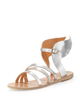 Ancient Greek Sandals Ikaria Winged Vachetta Flat Sandal, Silver
