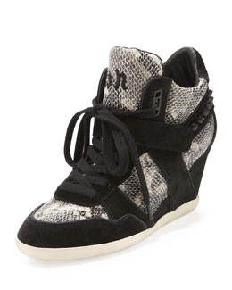 Ash Bisou Snake-Print Wedge Sneaker, Black