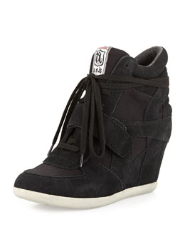 Ash Bowie Suede Wedge Sneaker, Black
