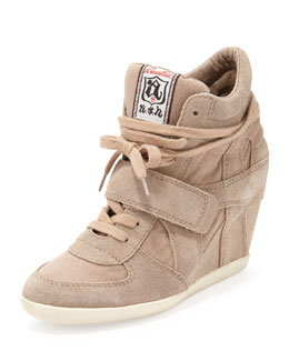 Ash Bowie Suede and Canvas Wedge Sneaker, Chamois