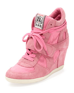 Ash Bowie Suede and Canvas Wedge Sneaker, Shocking Pink