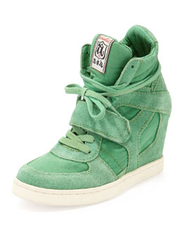 Ash Bowie Suede and Canvas Wedge Sneaker, Brazil