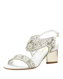 Nicholas Kirkwood Low-Heel Laser-Cut Leather Sandal, White