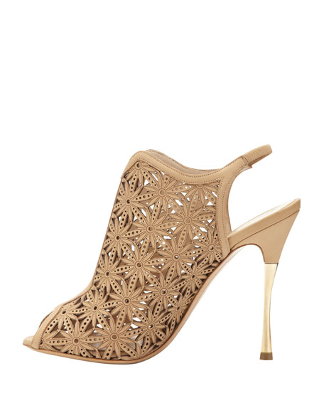 Laser-Cut Leather Sandal, Beige