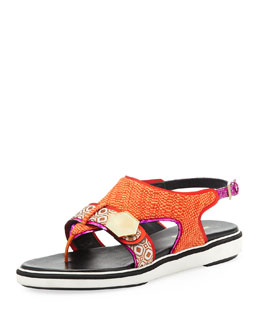 Nicholas Kirkwood Flat Rubber-Sole Mixed-Fabric Sandal, Orange