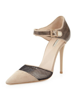 Giorgio Armani Suede/Snake Netting Point Pump