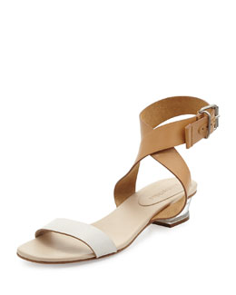 See by Chloe Two-Tone Leather City Sandal, White/Nude