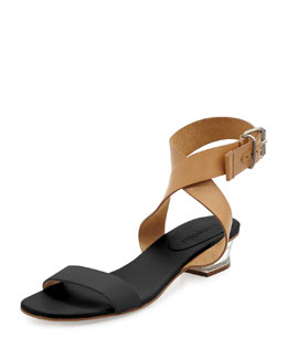 See by Chloe Two-Tone Leather City Sandal, Black/Nude