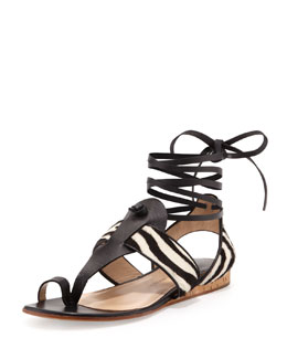 Paul Andrew Zebra-Print Calf Hair Ankle-Wrap Sandal