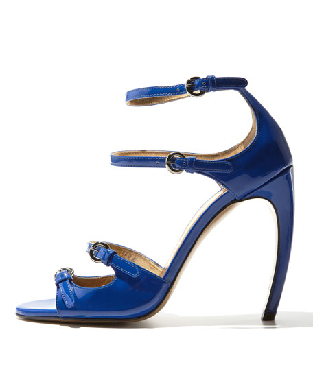 Patent Leather Strappy Sandal, Blue
