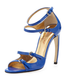 Walter Steiger Patent Leather Strappy Sandal, Blue