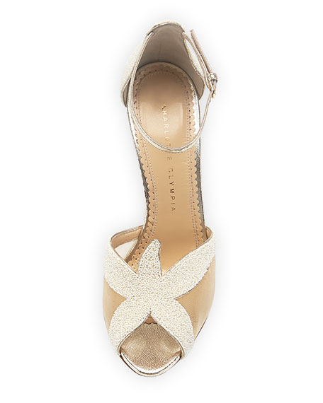 Sandrine Beaded Starfish Sandal, Pearl