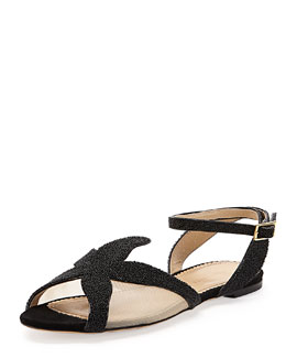 Charlotte Olympia Sandy Beaded Starfish Sandal, Black