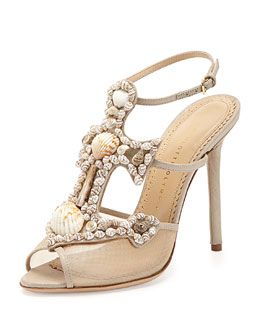 Charlotte Olympia Shore Thing Canvas Anchor Sandal, Natural