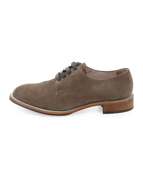 Suede Lace-Up Glitter Oxford, Charcoal