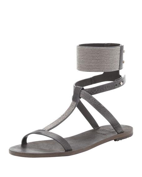 Flat Sandal with Ball Chain Trim, Charcoal