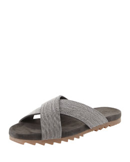 Brunello Cucinelli Monili Crystal Crisscross Sandal, Charcoal