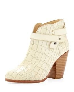 Rag & Bone Harrow Crocodile-Embossed Ankle Boot, White