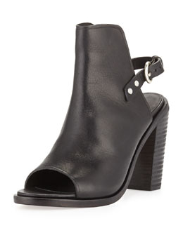 Wyatt Open-Toe Bootie, Black