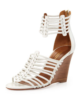 Aquazzura Venus Strappy Wedge Sandal, White