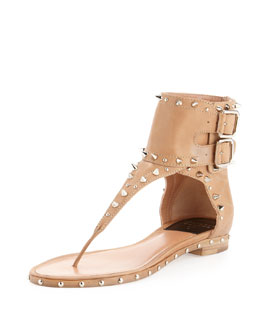 Laurence Dacade Flash Studded Double-Buckle Thong Sandal