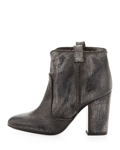 Pete Distressed Crackled Ankle Boot, Black