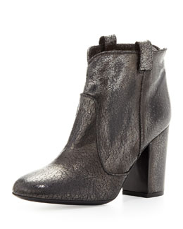 Laurence Dacade Pete Distressed Crackled Ankle Boot, Black