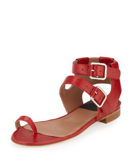 Laurence Dacade Double-Buckle Leather Sandal, Red