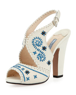 Prada Slingback Stitched Leather Pump, White/Blue