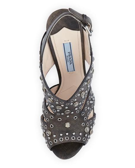 Vitello Vintage Studded Sandal, Black
